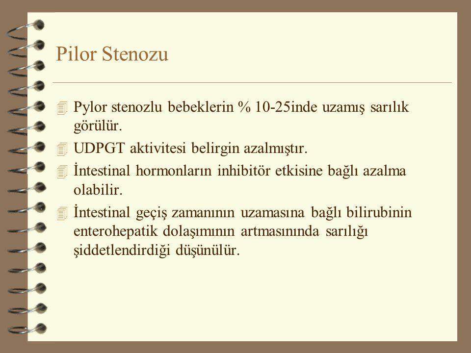 Pilor Stenozu 4 Pylor stenozlu bebeklerin % 10-25inde uzamış sarılık görülür. 4 UDPGT aktivitesi belirgin azalmıştır. 4 İntestinal hormonların inhibit