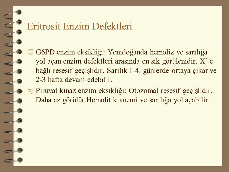 Eritrosit Enzim Defektleri 4 G6PD enzim eksikliği: Yenidoğanda hemoliz ve sarılığa yol açan enzim defektleri arasında en sık görülenidir. X' e bağlı r