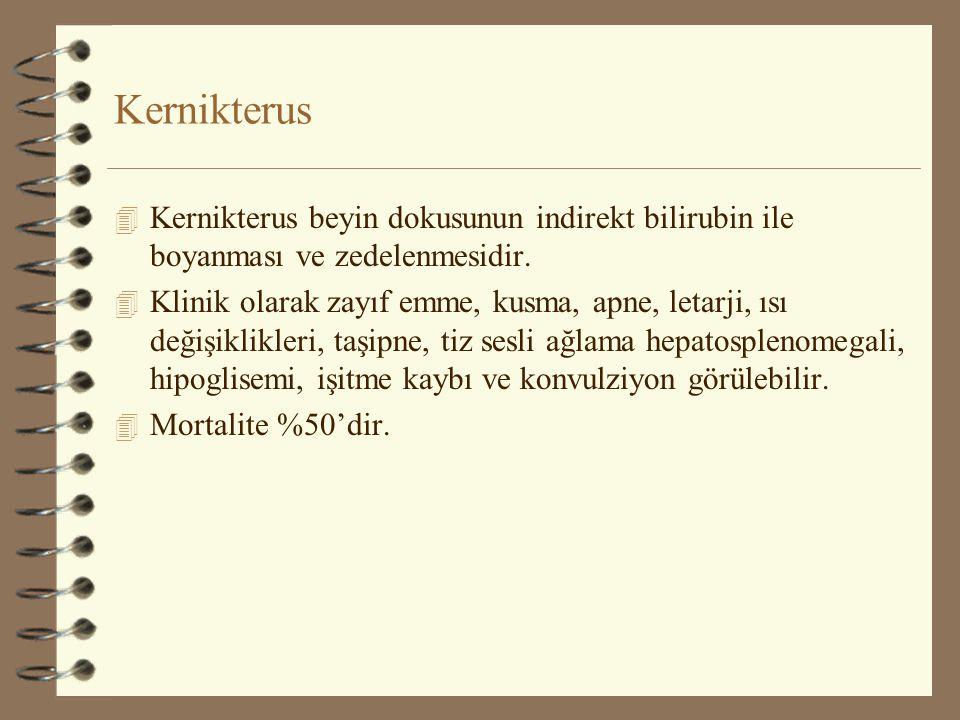 Kernikterus 4 Kernikterus beyin dokusunun indirekt bilirubin ile boyanması ve zedelenmesidir. 4 Klinik olarak zayıf emme, kusma, apne, letarji, ısı de