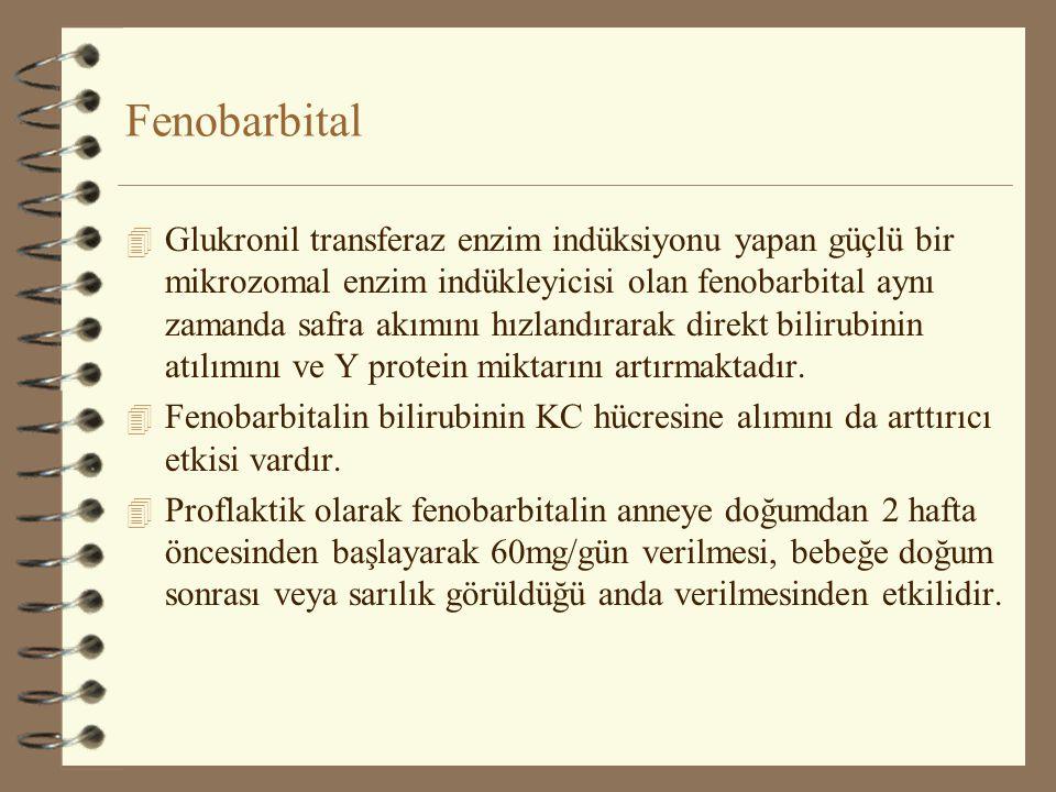 Fenobarbital 4 Glukronil transferaz enzim indüksiyonu yapan güçlü bir mikrozomal enzim indükleyicisi olan fenobarbital aynı zamanda safra akımını hızl