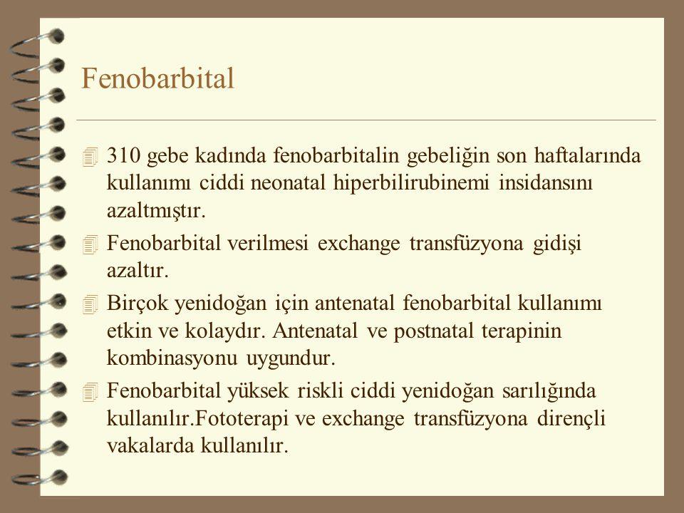 Fenobarbital 4 310 gebe kadında fenobarbitalin gebeliğin son haftalarında kullanımı ciddi neonatal hiperbilirubinemi insidansını azaltmıştır. 4 Fenoba