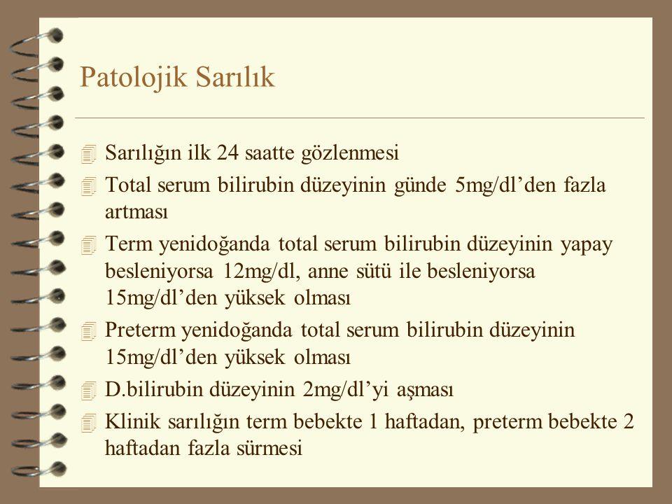 Patolojik Sarılık 4 Sarılığın ilk 24 saatte gözlenmesi 4 Total serum bilirubin düzeyinin günde 5mg/dl'den fazla artması 4 Term yenidoğanda total serum