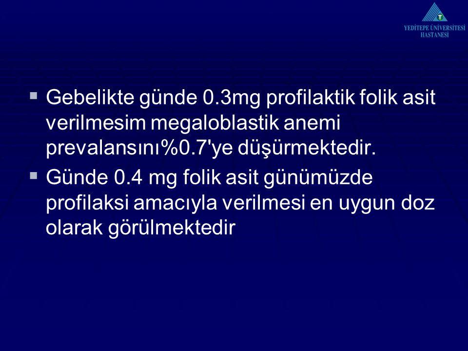  Gebelikte günde 0.3mg profilaktik folik asit verilmesim megaloblastik anemi prevalansını%0.7'ye düşürmektedir.  Günde 0.4 mg folik asit günümüzde p