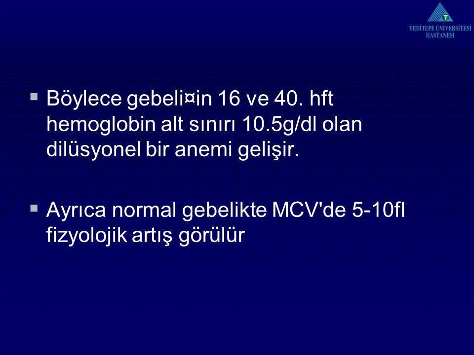  Böylece gebeli¤in 16 ve 40. hft hemoglobin alt sınırı 10.5g/dl olan dilüsyonel bir anemi gelişir.  Ayrıca normal gebelikte MCV'de 5-10fl fizyolojik
