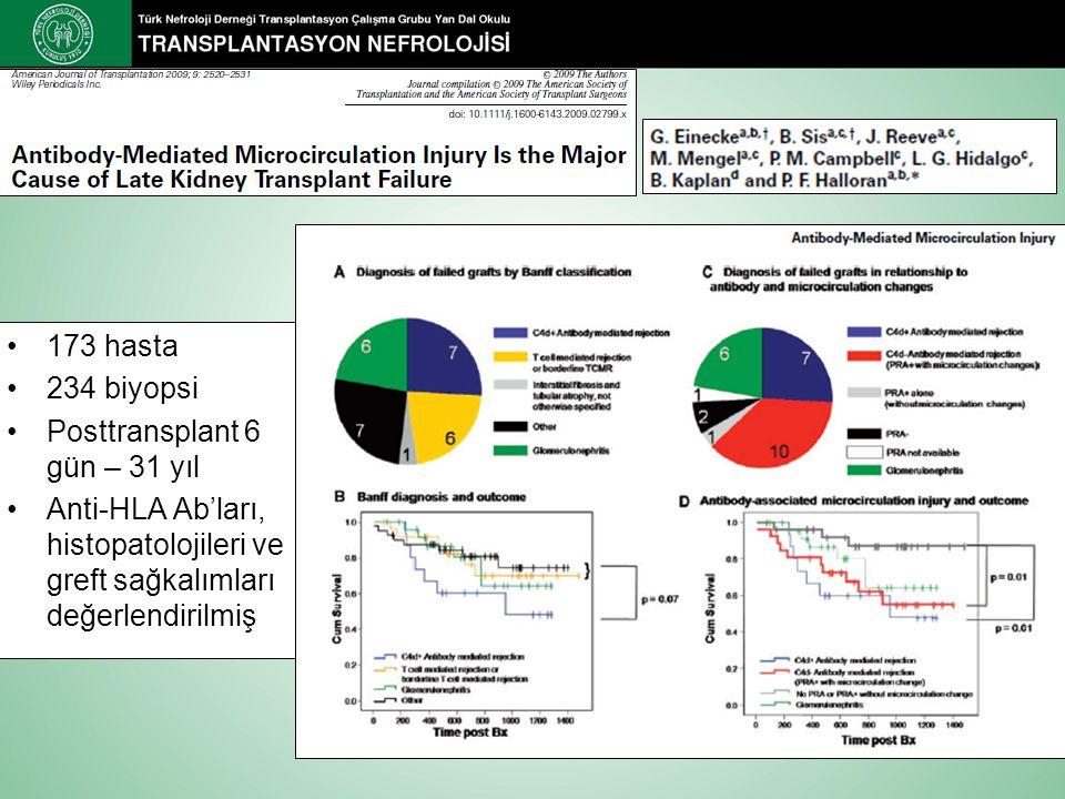 173 hasta 234 biyopsi Posttransplant 6 gün – 31 yıl Anti-HLA Ab'ları, histopatolojileri ve greft sağkalımları değerlendirilmiş