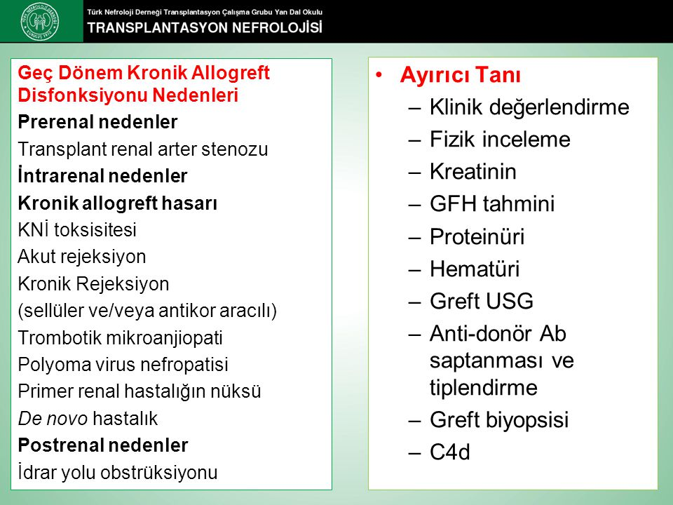 Ayırıcı Tanı –Klinik değerlendirme –Fizik inceleme –Kreatinin –GFH tahmini –Proteinüri –Hematüri –Greft USG –Anti-donör Ab saptanması ve tiplendirme –Greft biyopsisi –C4d Geç Dönem Kronik Allogreft Disfonksiyonu Nedenleri Prerenal nedenler Transplant renal arter stenozu İntrarenal nedenler Kronik allogreft hasarı KNİ toksisitesi Akut rejeksiyon Kronik Rejeksiyon (sellüler ve/veya antikor aracılı) Trombotik mikroanjiopati Polyoma virus nefropatisi Primer renal hastalığın nüksü De novo hastalık Postrenal nedenler İdrar yolu obstrüksiyonu