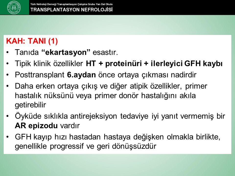 """KAH: TANI (1) Tanıda """"ekartasyon"""" esastır. Tipik klinik özellikler HT + proteinüri + ilerleyici GFH kaybı Posttransplant 6.aydan önce ortaya çıkması n"""