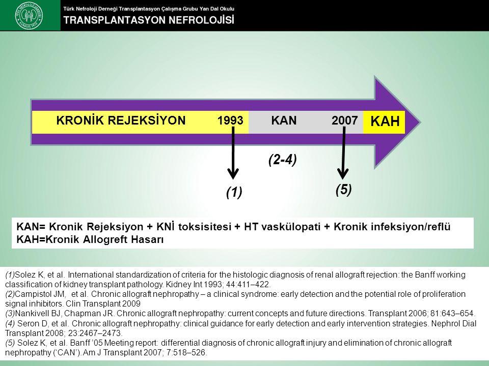 (1)Solez K, et al. International standardization of criteria for the histologic diagnosis of renal allograft rejection: the Banff working classificati
