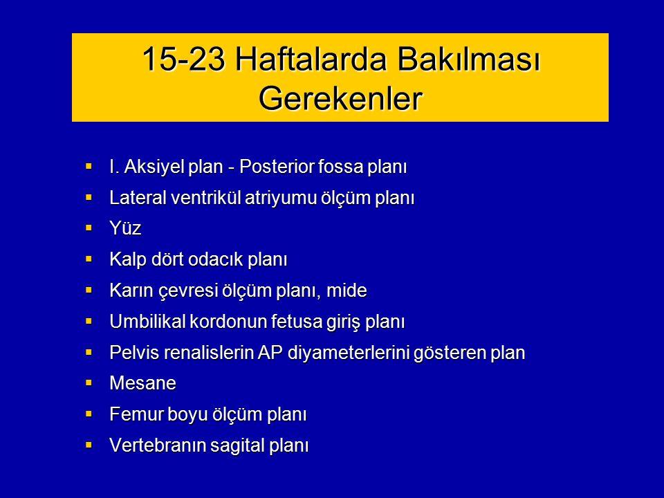 15-23 Haftalarda Bakılması Gerekenler  I. Aksiyel plan - Posterior fossa planı  Lateral ventrikül atriyumu ölçüm planı  Yüz  Kalp dört odacık plan