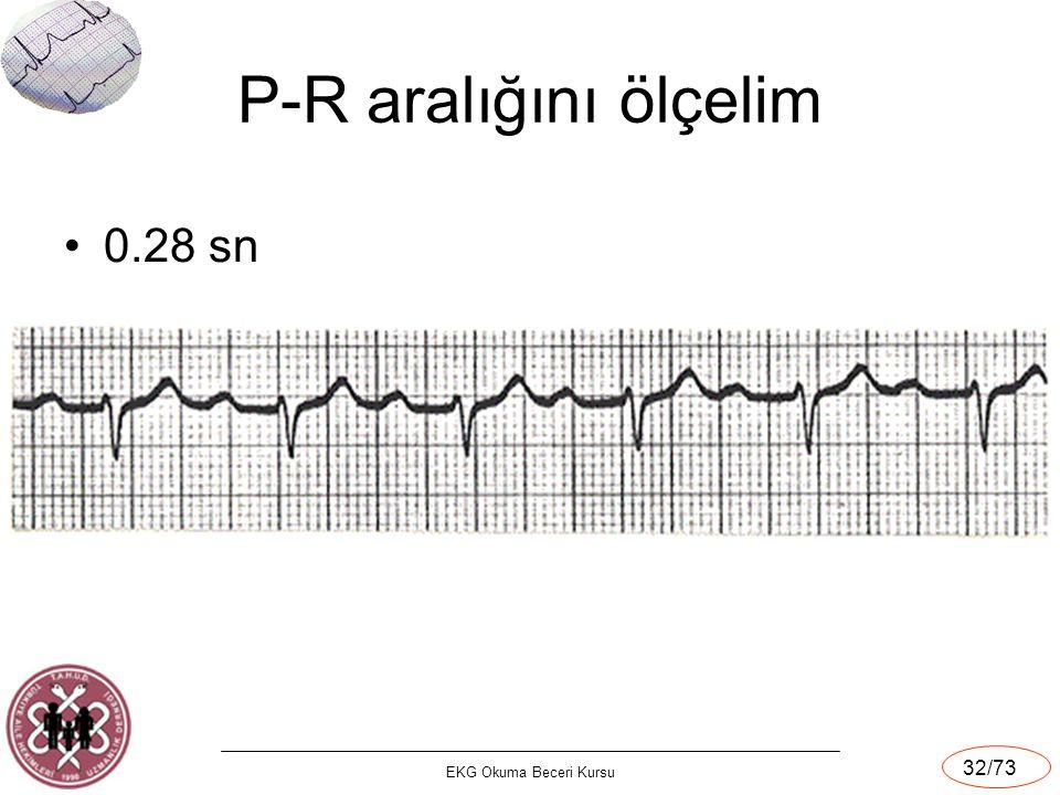 EKG Okuma Beceri Kursu 32/73 P-R aralığını ölçelim 0.28 sn