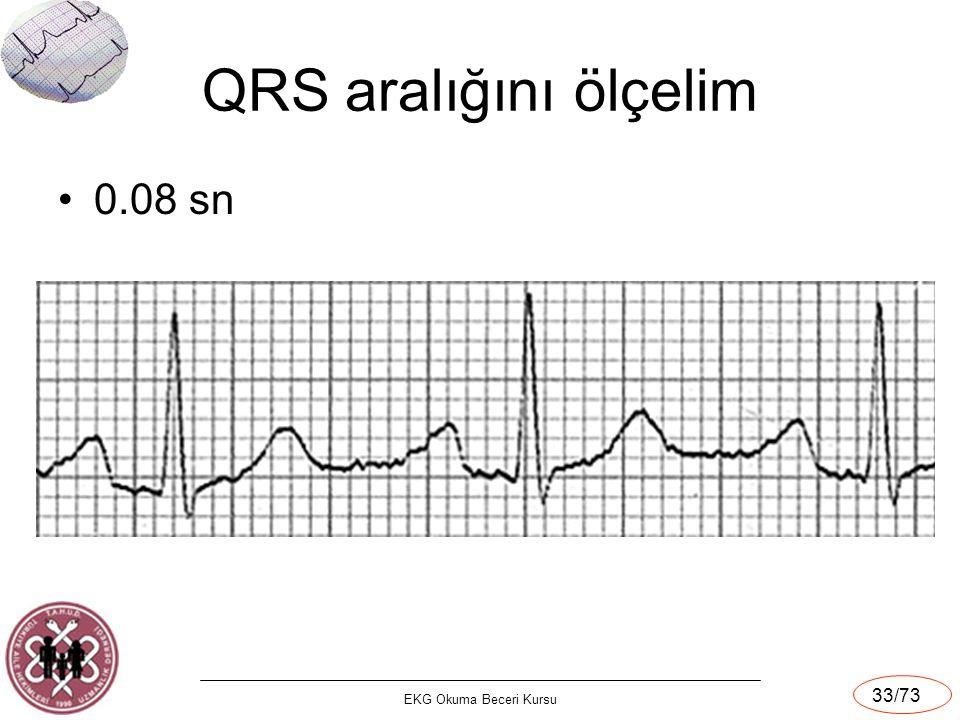 EKG Okuma Beceri Kursu 33/73 QRS aralığını ölçelim 0.08 sn