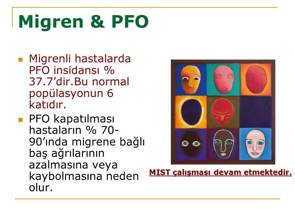 Migren & PFO Migrenli hastalarda PFO insidansı % 37.7'dir.Bu normal popülasyonun 6 katıdır. PFO kapatılması hastaların % 70- 90'ında migrene bağlı baş