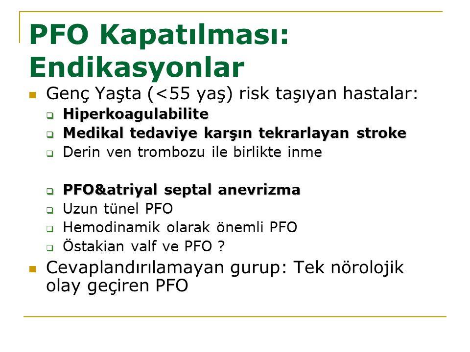 PFO Kapatılması: Endikasyonlar Genç Yaşta (<55 yaş) risk taşıyan hastalar:  Hiperkoagulabilite  Medikal tedaviye karşın tekrarlayan stroke  Derin v