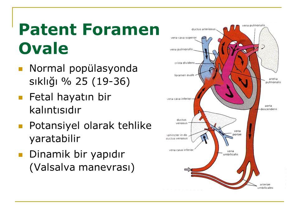 Patent Foramen Ovale Normal popülasyonda sıklığı % 25 (19-36) Fetal hayatın bir kalıntısıdır Potansiyel olarak tehlike yaratabilir Dinamik bir yapıdır