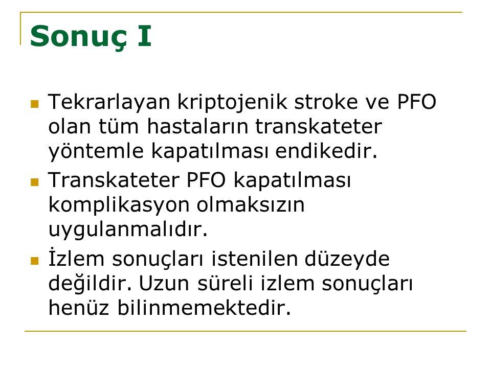 Sonuç I Tekrarlayan kriptojenik stroke ve PFO olan tüm hastaların transkateter yöntemle kapatılması endikedir. Transkateter PFO kapatılması komplikasy