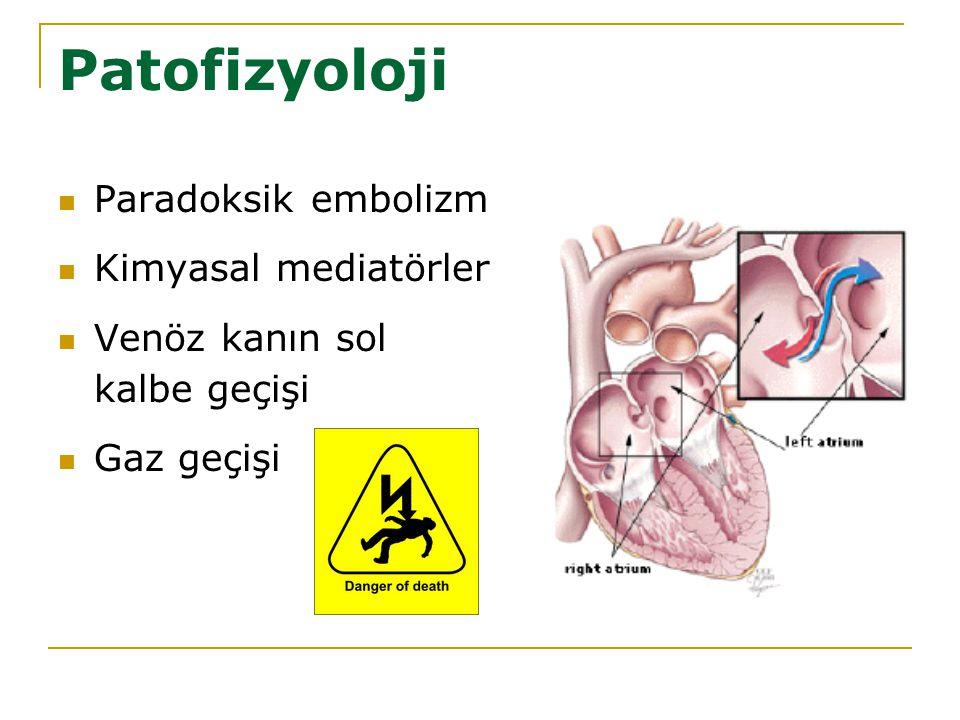 Patofizyoloji Paradoksik embolizm Kimyasal mediatörler Venöz kanın sol kalbe geçişi Gaz geçişi