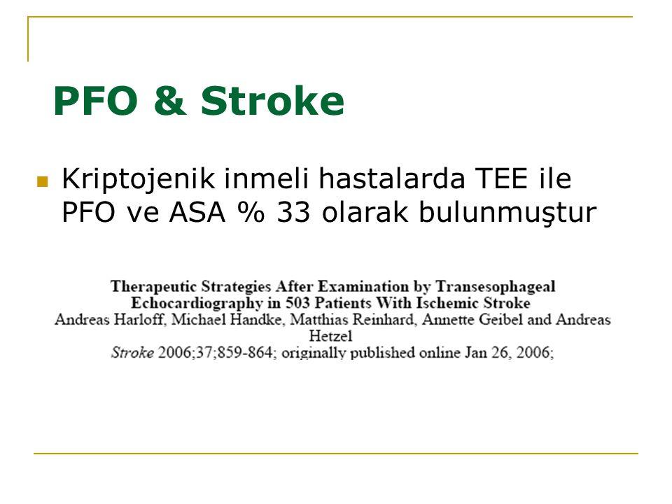 PFO & Stroke Kriptojenik inmeli hastalarda TEE ile PFO ve ASA % 33 olarak bulunmuştur