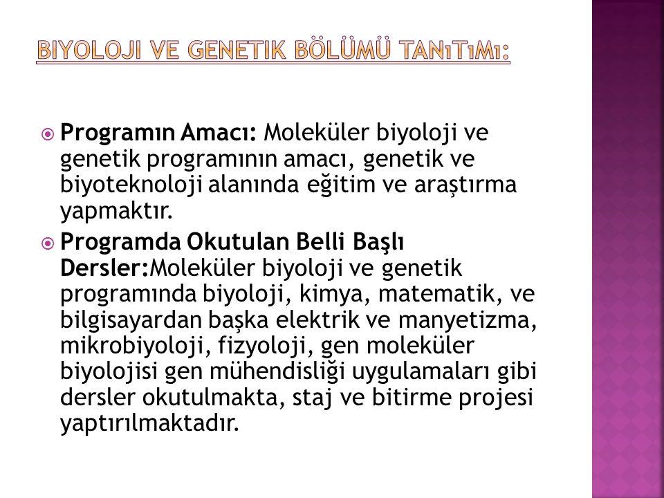  Programın Amacı: Moleküler biyoloji ve genetik programının amacı, genetik ve biyoteknoloji alanında eğitim ve araştırma yapmaktır.  Programda Okutu