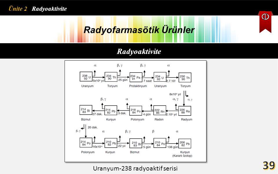 Radyofarmasötik Ürünler Uranyum-238 radyoaktif serisi Ünite 2 Radyoaktivite Radyoaktivite