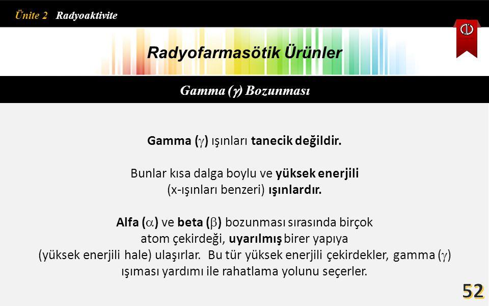 Radyofarmasötik Ürünler Gamma (  ) Bozunması Gamma (  ) ışınları tanecik değildir. Bunlar kısa dalga boylu ve yüksek enerjili (x-ışınları benzeri) ı