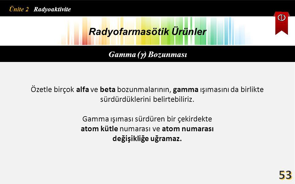 Radyofarmasötik Ürünler Gamma (  ) Bozunması Özetle birçok alfa ve beta bozunmalarının, gamma ışımasını da birlikte sürdürdüklerini belirtebiliriz. G