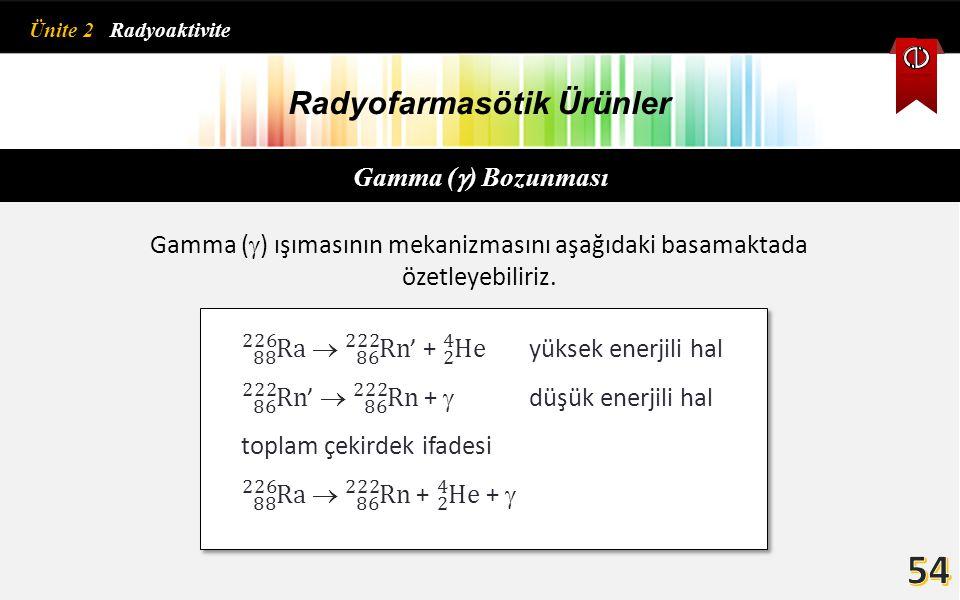 Radyofarmasötik Ürünler Gamma (  ) Bozunması Gamma (  ) ışımasının mekanizmasını aşağıdaki basamaktada özetleyebiliriz. Ünite 2 Radyoaktivite