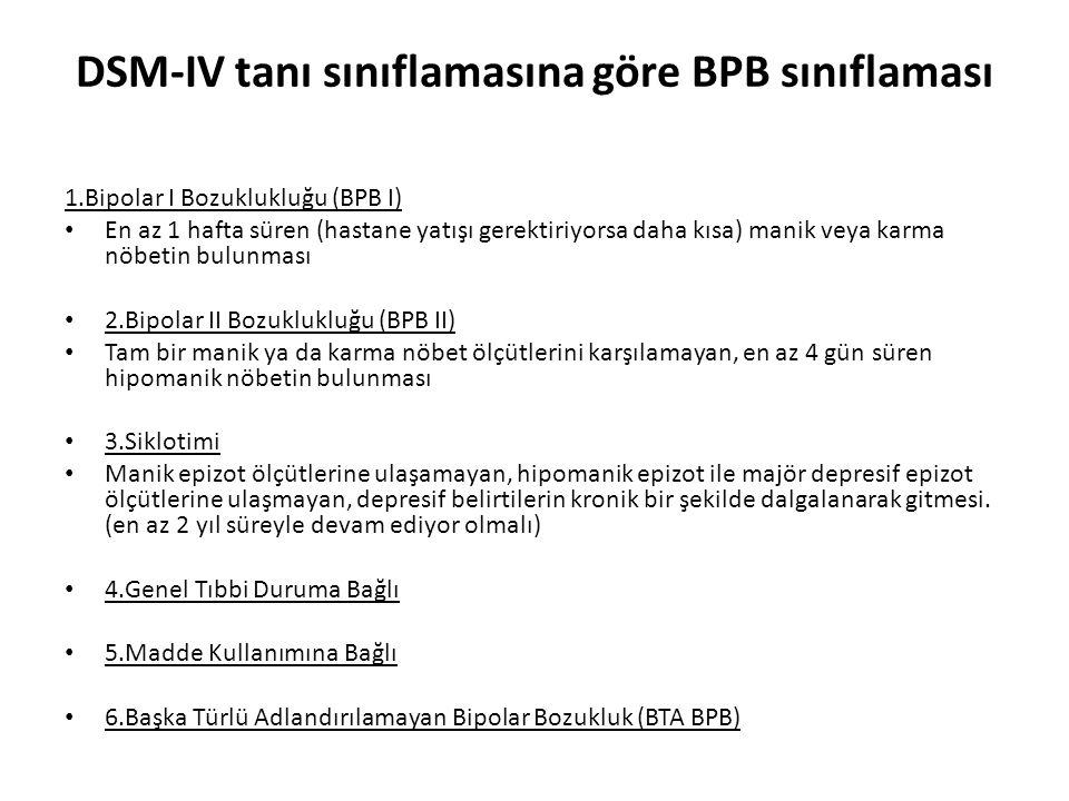 DSM-IV tanı sınıflamasına göre BPB sınıflaması 1.Bipolar I Bozuklukluğu (BPB I) En az 1 hafta süren (hastane yatışı gerektiriyorsa daha kısa) manik ve