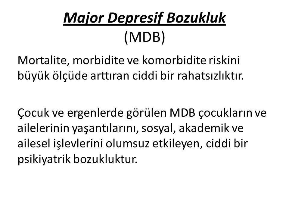 Major Depresif Bozukluk (MDB) Mortalite, morbidite ve komorbidite riskini büyük ölçüde arttıran ciddi bir rahatsızlıktır. Çocuk ve ergenlerde görülen