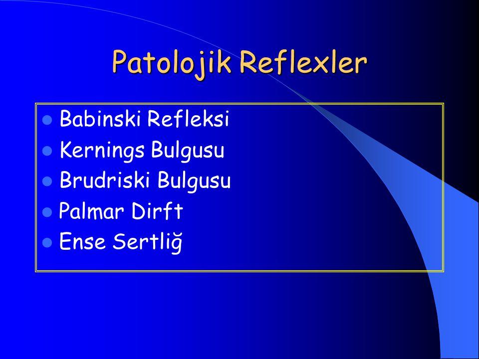 Patolojik Reflexler Babinski Refleksi Kernings Bulgusu Brudriski Bulgusu Palmar Dirft Ense Sertliğ