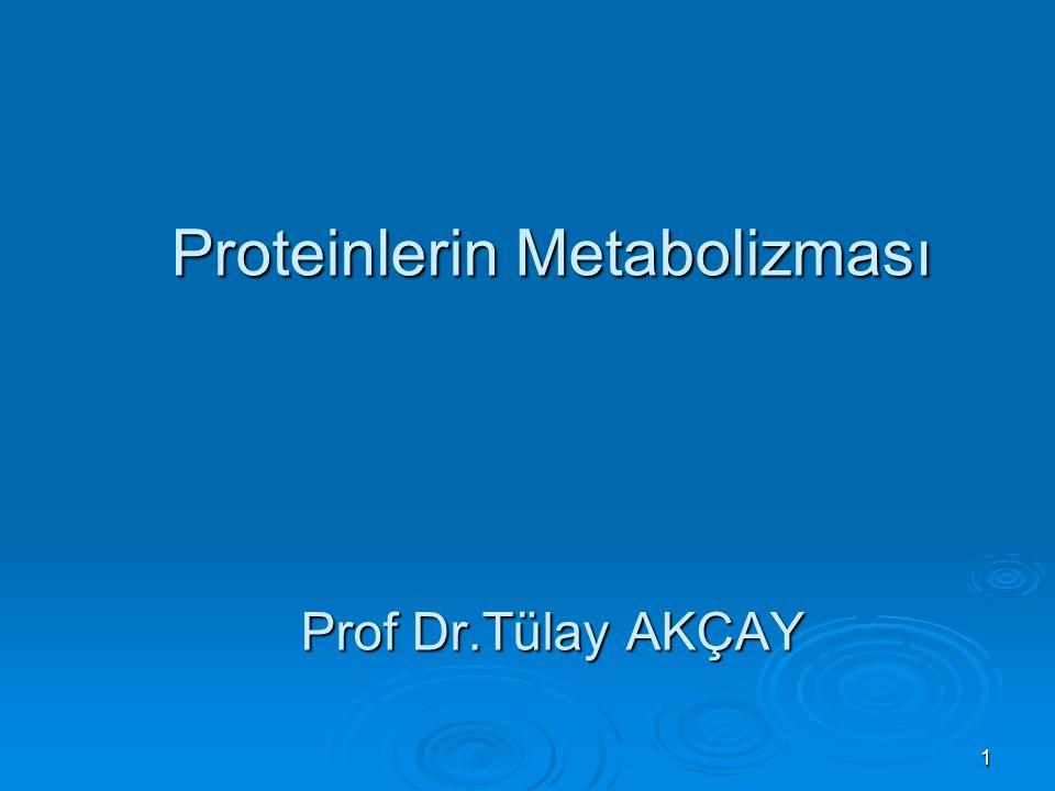 1 Proteinlerin Metabolizması Prof Dr.Tülay AKÇAY