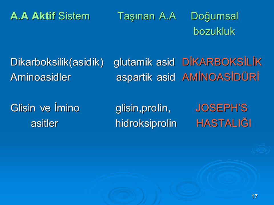 17 A.A Aktif Sistem Taşınan A.A Doğumsal bozukluk bozukluk Dikarboksilik(asidik) glutamik asid DİKARBOKSİLİK Aminoasidler aspartik asid AMİNOASİDÜRİ G