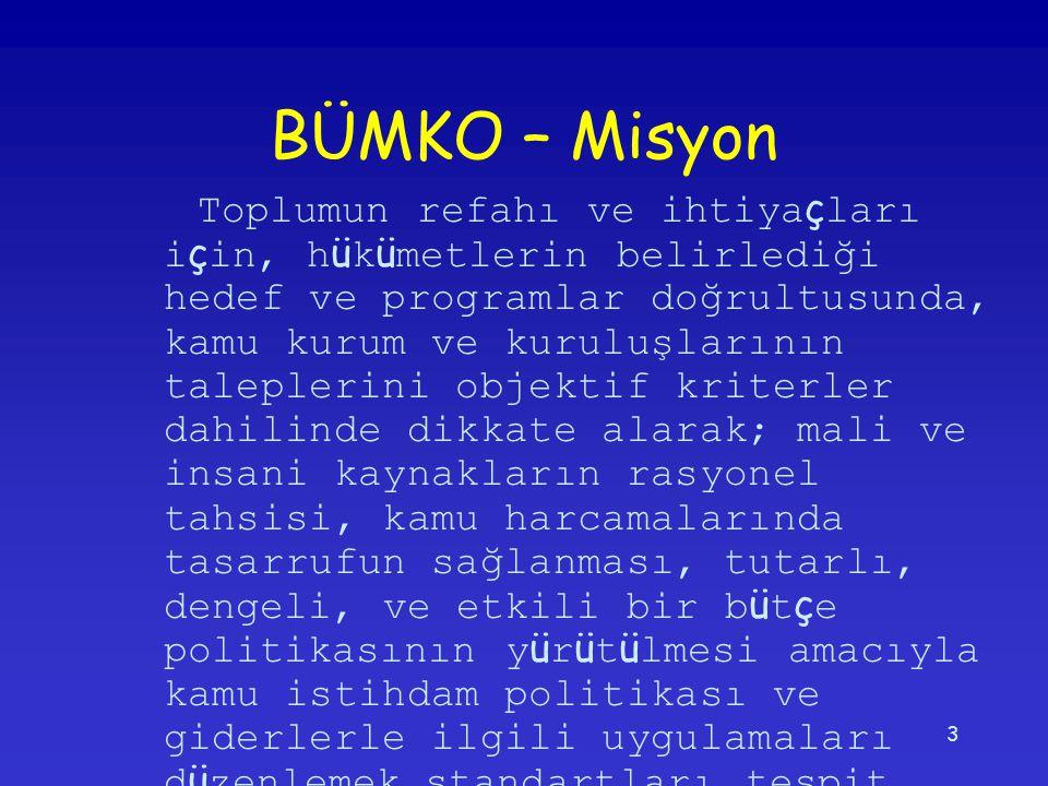 3 BÜMKO – Misyon Toplumun refahı ve ihtiya ç ları i ç in, h ü k ü metlerin belirlediği hedef ve programlar doğrultusunda, kamu kurum ve kuruluşlarının