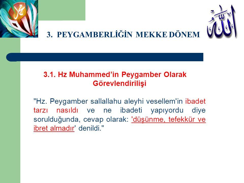 3.PEYGAMBERLİĞİN MEKKE DÖNEMİ 3.1. Hz Muhammed'in Peygamber Olarak Görevlendirilişi Hz.