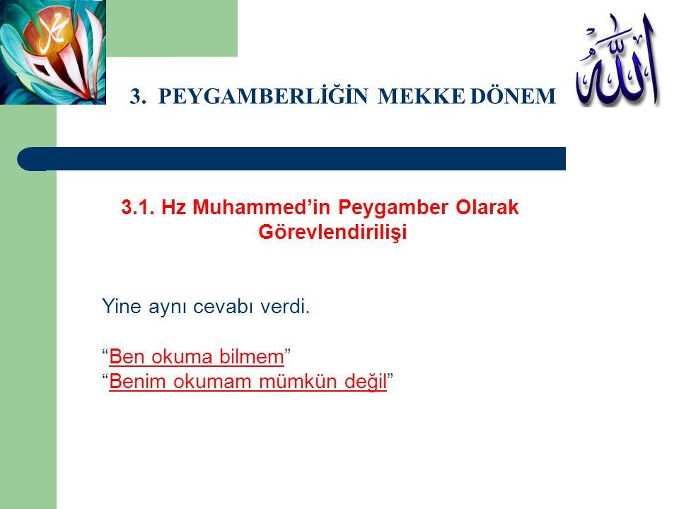 3.1.Hz Muhammed'in Peygamber Olarak Görevlendirilişi Yine aynı cevabı verdi.