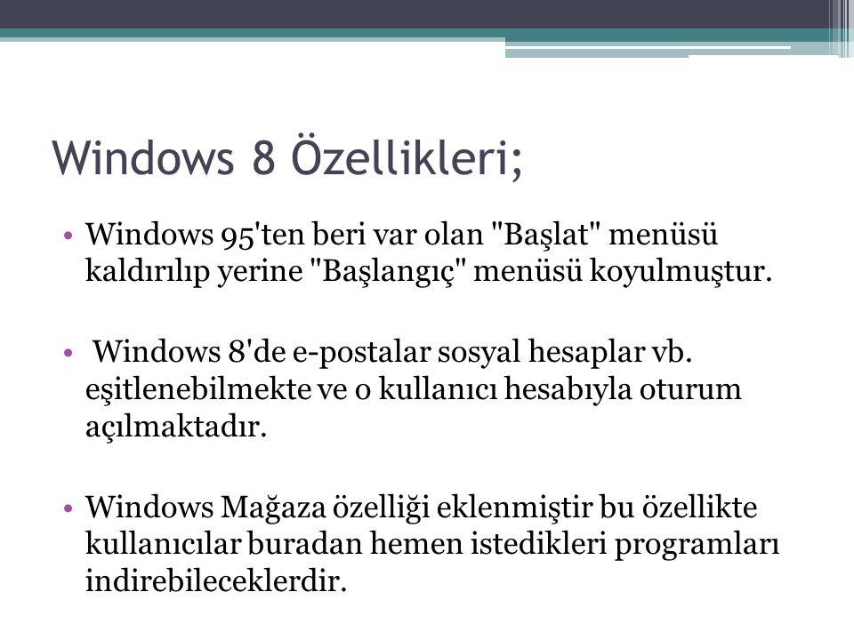 Windows 8 Özellikleri; Windows 95 ten beri var olan Başlat menüsü kaldırılıp yerine Başlangıç menüsü koyulmuştur.