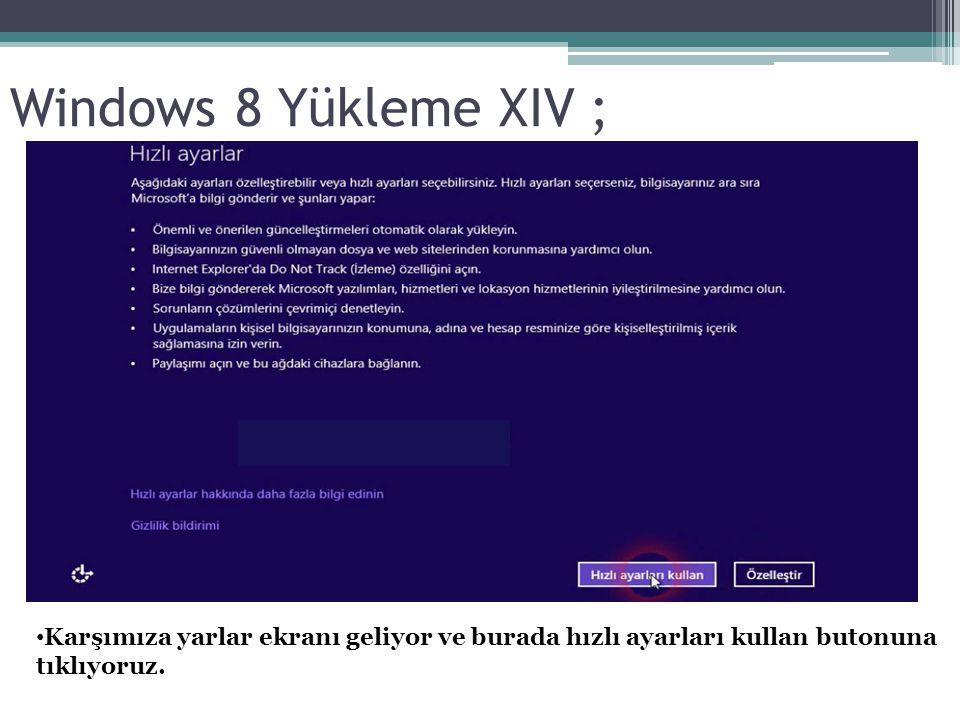 Windows 8 Yükleme XIV ; Karşımıza yarlar ekranı geliyor ve burada hızlı ayarları kullan butonuna tıklıyoruz.