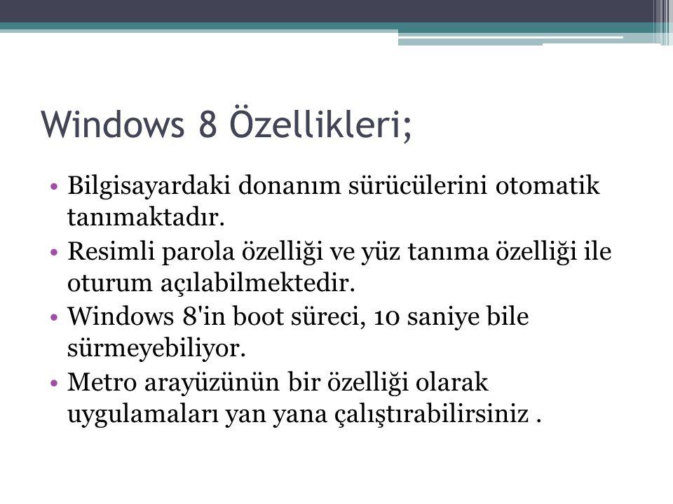 Windows 8 Özellikleri; Bilgisayardaki donanım sürücülerini otomatik tanımaktadır.