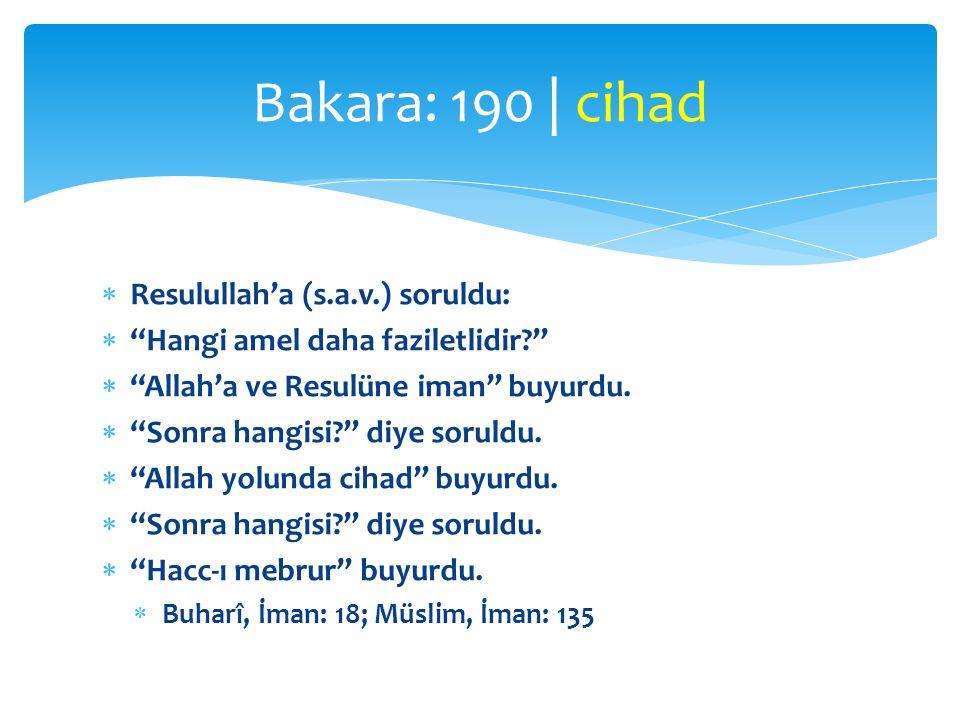 """ Resulullah'a (s.a.v.) soruldu:  """"Hangi amel daha faziletlidir?""""  """"Allah'a ve Resulüne iman"""" buyurdu.  """"Sonra hangisi?"""" diye soruldu.  """"Allah yol"""