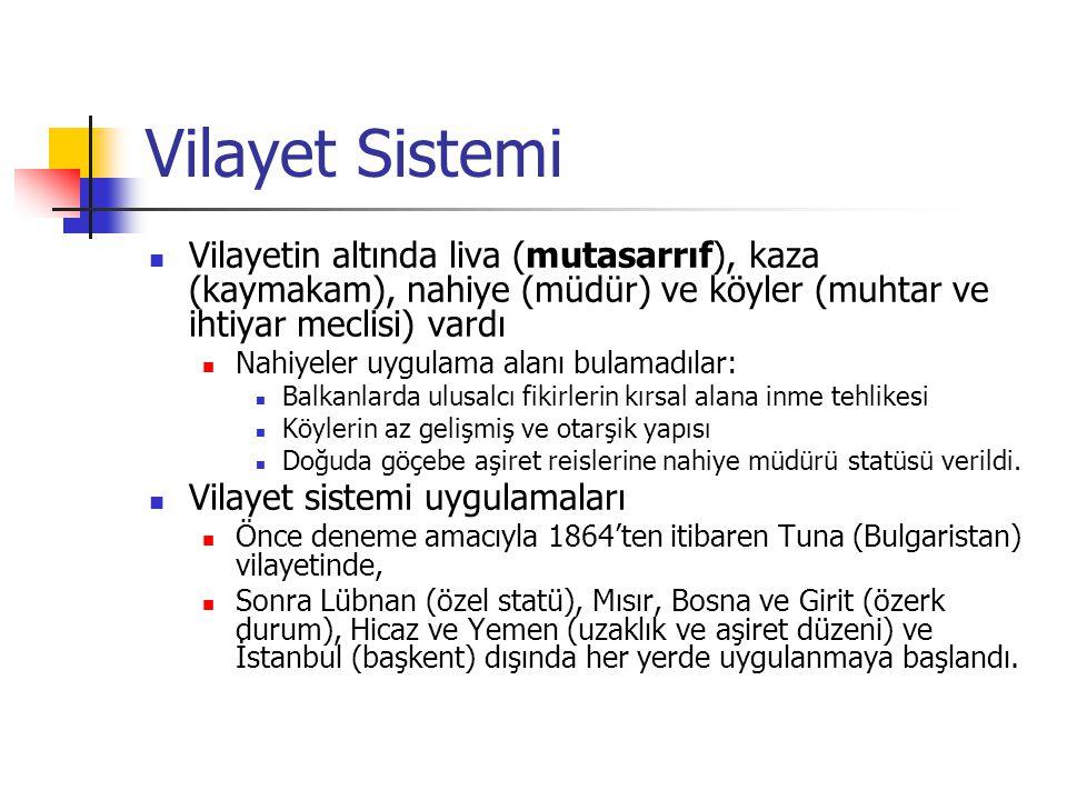 Vilayet Sistemi Vilayetin altında liva (mutasarrıf), kaza (kaymakam), nahiye (müdür) ve köyler (muhtar ve ihtiyar meclisi) vardı Nahiyeler uygulama al