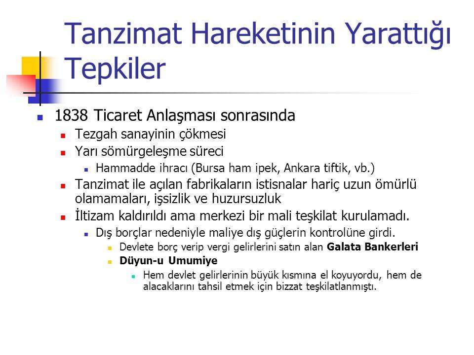 Tanzimat Hareketinin Yarattığı Tepkiler 1838 Ticaret Anlaşması sonrasında Tezgah sanayinin çökmesi Yarı sömürgeleşme süreci Hammadde ihracı (Bursa ham