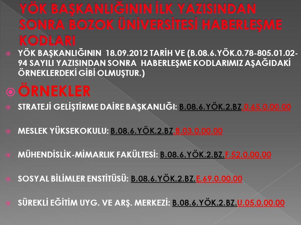  YÖK BAŞKANLIĞININ 18.09.2012 TARİH VE (B.08.6.YÖK.0.78-805.01.02- 94 SAYILI YAZISINDAN SONRA HABERLEŞME KODLARIMIZ AŞAĞIDAKİ ÖRNEKLERDEKİ GİBİ OLMUŞTUR.)  ÖRNEKLER  STRATEJİ GELİŞTİRME DAİRE BAŞKANLIĞI: B.08.6.YÖK.2.BZ.0.65.0.00.00  MESLEK YÜKSEKOKULU: B.08.6.YÖK.2.BZ.B.03.0.00.00  MÜHENDİSLİK-MİMARLIK FAKÜLTESİ: B.08.6.YÖK.2.BZ.F.52.0.00.00  SOSYAL BİLİMLER ENSTİTÜSÜ: B.08.6.YÖK.2.BZ.E.69.0.00.00  SÜREKLİ EĞİTİM UYG.