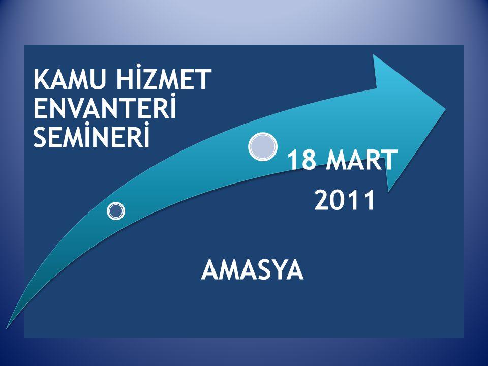 KAMU HİZMET ENVANTERİ SEMİNERİ 18 MART 2011 AMASYA