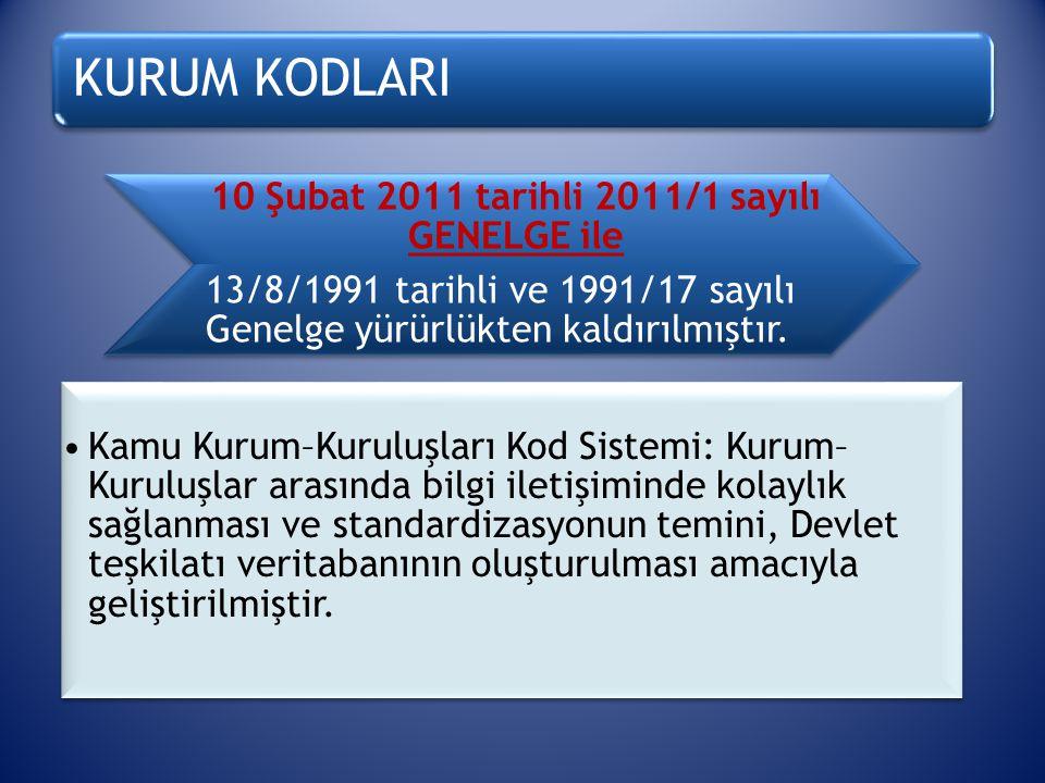 KURUM KODLARI 10 Şubat 2011 tarihli 2011/1 sayılı GENELGE ile 13/8/1991 tarihli ve 1991/17 sayılı Genelge yürürlükten kaldırılmıştır. Kamu Kurum–Kurul