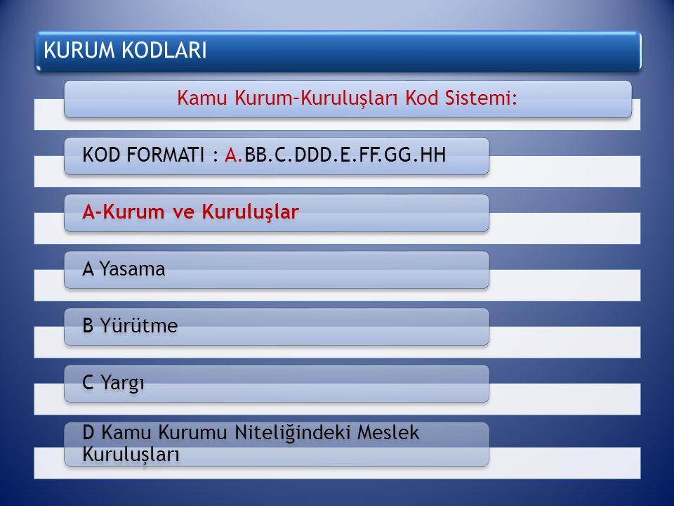 KURUM KODLARI BB: Nümerik2 karakter Kurum Kodları listesinde yer alan kurum kodudur.