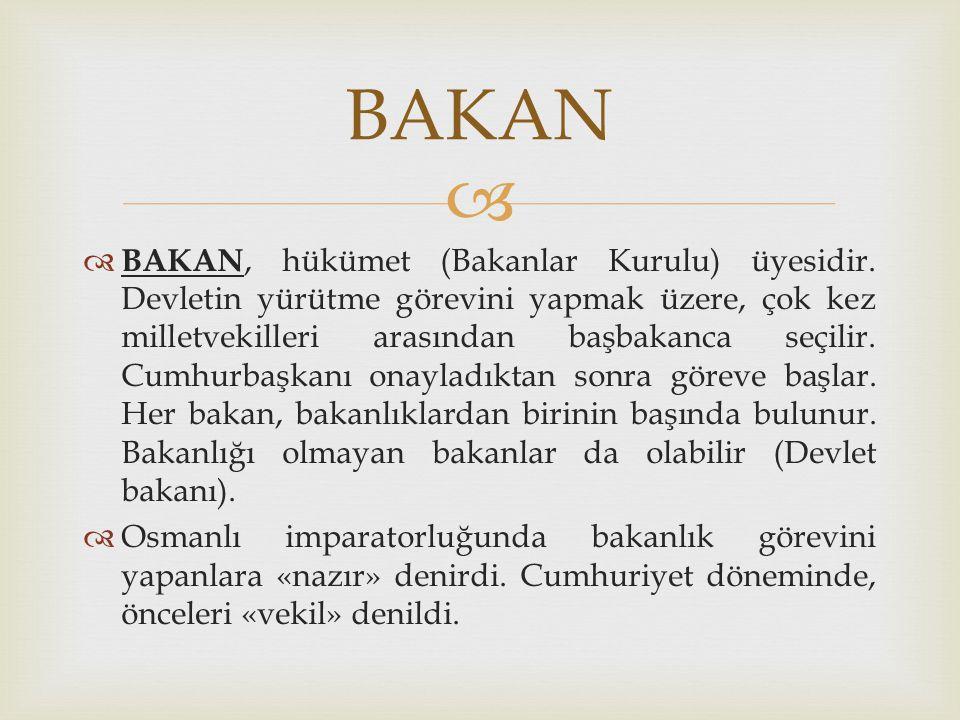   BAKAN, hükümet (Bakanlar Kurulu) üyesidir. Devletin yürütme görevini yapmak üzere, çok kez milletvekilleri arasından başbakanca seçilir. Cumhurbaş