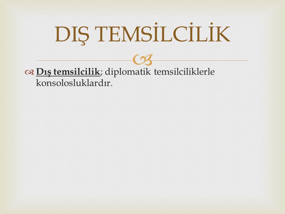   Dış temsilcilik ; diplomatik temsilciliklerle konsolosluklardır. DIŞ TEMSİLCİLİK