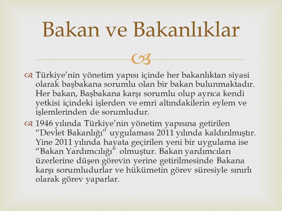   Türkiye'nin yönetim yapısı içinde her bakanlıktan siyasi olarak başbakana sorumlu olan bir bakan bulunmaktadır.