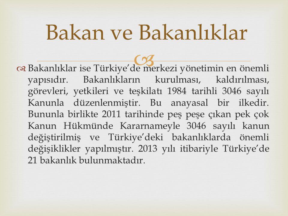  Bakanlıklar ise Türkiye'de merkezi yönetimin en önemli yapısıdır. Bakanlıkların kurulması, kaldırılması, görevleri, yetkileri ve teşkilatı 1984 ta