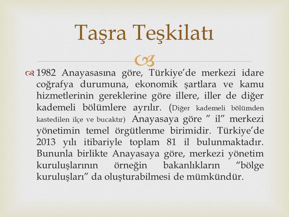   1982 Anayasasına göre, Türkiye'de merkezi idare coğrafya durumuna, ekonomik şartlara ve kamu hizmetlerinin gereklerine göre illere, iller de diğer kademeli bölümlere ayrılır.
