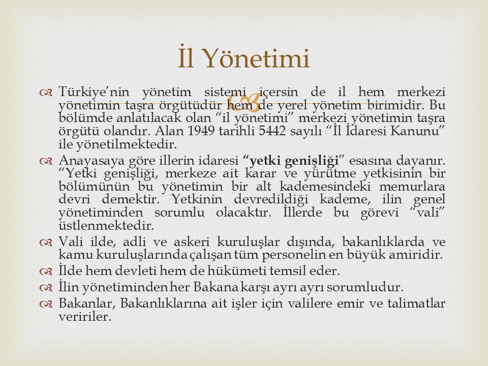   Türkiye'nin yönetim sistemi içersin de il hem merkezi yönetimin taşra örgütüdür hem de yerel yönetim birimidir.